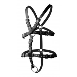 Strict Leather Body Harness With Cock Ring - Medium Large