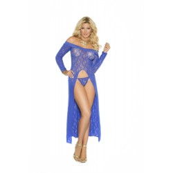 Long Sleeve Lace Gown - Queen Size - Blue