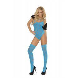 Lace Teddy With Matching Thigh Highs - Queen Size -Neon Blue