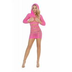 Mini Dress With Hood - One Size - Neon Pink