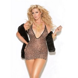 Deep v Mini Dress - Queen Size - Leopard