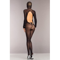Opaque Cupless and Crotchless Hooded Bodystocking - One Size - Black