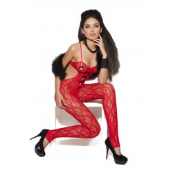 Lace Body Stocking - One Size - Red
