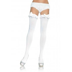 Opaque Thigh Highs With Satin Ruffle Trim and Bow - One Size - White