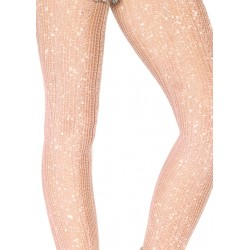 Spandex Crotched Stripe Lurex Shimmer Tights - Rose Gold - One Size
