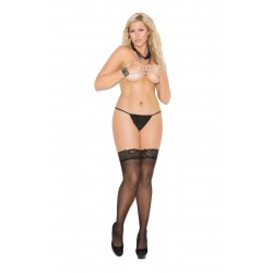 Sheer Thigh Hi With Lace Top and Back Seam - Queen Size - Black
