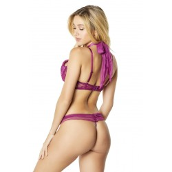 2 Pc Functional Tie Shelf Cup Bra and Ruched Back  Tanga - Amaranth - S/m