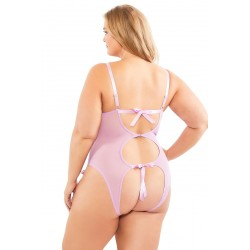 Functional Ties Lace Teddy With Open Back - Pastel Violet - Queen Size