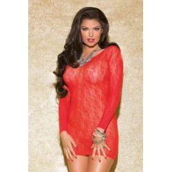 Long Sleeve Scoop Back Chemise - One Size - Red