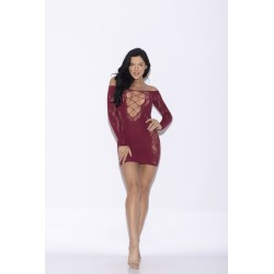 Floral Lace Sleeve Chemise - One Size - Red