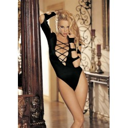 Long Sleeve Cut-Out Thong Body Suit - One Size - Black