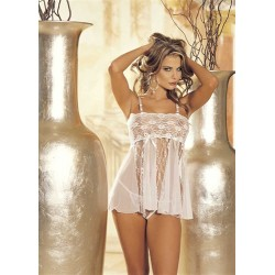 Stretch Lace, Sheer Net, &amp Lace Panels Babydoll - One Size - White