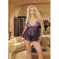 Sequin Embroidery and Sheer Net  Baby Doll - Queen Size - Purple