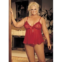 Sequin Embroidery and Sheer Net Babydoll - Queen Size - Red