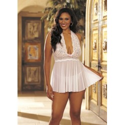 Stretch Mesh and Baby Doll With  Bow - Queen Size - White