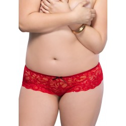 Stretch Lace Open Crotch Thong - 1x-2x - Red
