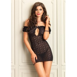 Lace Keyhole Chemise - Black - One Size