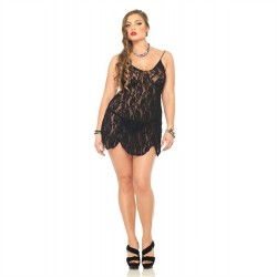Rose Lace Chemise and G-String - Queen Size  - Black