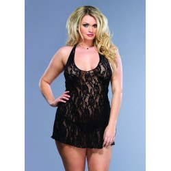 Rose Lace Halter Chemise and G-String - Queen Size - Black