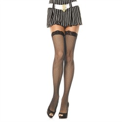 Lace Top Fishnet Stockings - Queen Size - Black