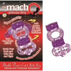 The Macho Collection Double Power Cock and Balls Rising - Purple