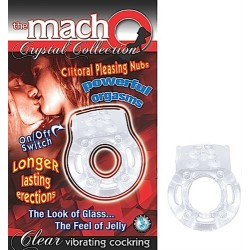 The Macho Crystal Collection Vibrating Cock Ring- Clear